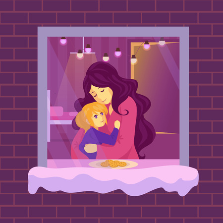 Mother hugs a child. Woman with her daughter. The girl put the cookies on the sill for Santa. Mom tells her daughter a story for the night.