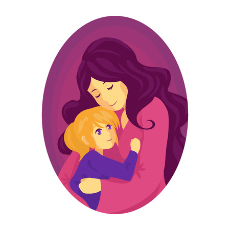 Mother hugs a child. The child is in the mothers arms. The woman with her daughter. The girl is happy, she found mother. A fairy tale for the night.