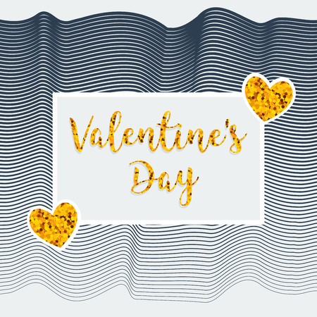 Valentine's Day. Greeting card and poster. Texture circles, sequins, stripes. 向量圖像
