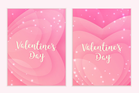 Valentine's Day. Greeting card and poster. Delicate pink hearts. Magical background illustration.