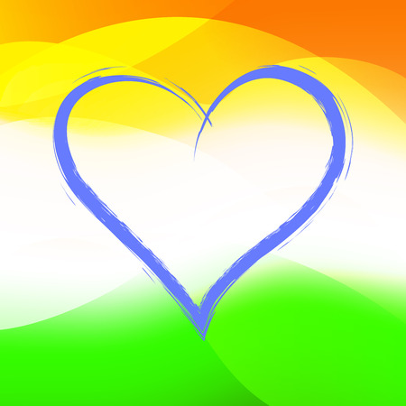 Abstract background color of the flag of India. Republic Day India. Patriotic poster. Blue heart.