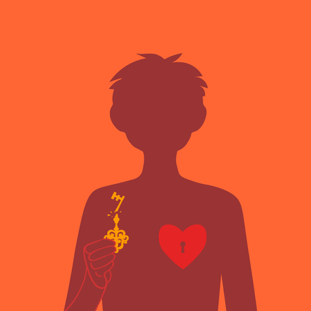 A lock on the heart. The guy closes or opens his heart. Silhouettes of the boy. Broken heart. Unrequited love. Emotional condition. Ilustração