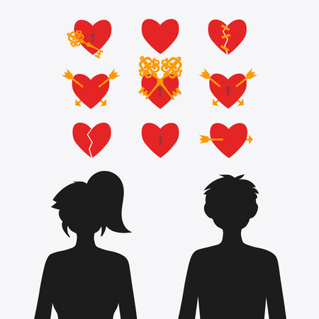 Set of vector hearts and silhouettes of a girl with a guy. Broken heart. The arrow is pierced by a heart. The glued heart. A lock on the heart.