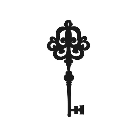 Vector silhouette of a vintage key. Decorative key.