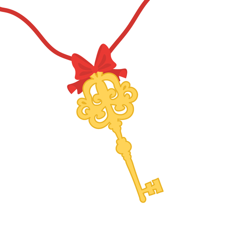 A vintage gold key is tied with a red ribbon with a bow. Illustration