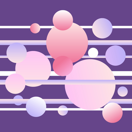 Vector gradient background, Abstract design with different color circles and stripes on purple background.