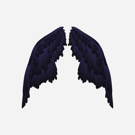Set of black wings, vector illustration on white background.