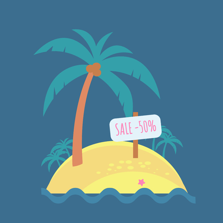 Tropical island on a dark background. Vector flat. Wooden signboard. Sale and discount. Illustration