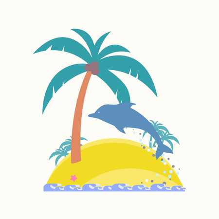 Tropical island. The dolphin jumps from the water. Waves at the shore. Vector flat. Tropical palm trees with coconut.