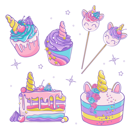 Doodle vector set. Colorful sweets. Cute cupcakes and cakes. Magically unicorn sweets.