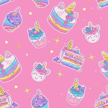 Vector pattern сolorful sweets. Cute cupcakes and cakes. Magically unicorn sweets.