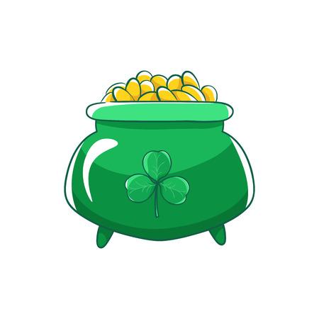 Saint Patricks Day. Green pot of gold coins and shamrocks.