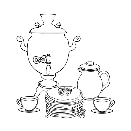Pancakes with strawberries, cherry and blueberries. Clay jug and samovar. Healthy breakfast. Maslenitsa - slavic holiday carnival. Illustration
