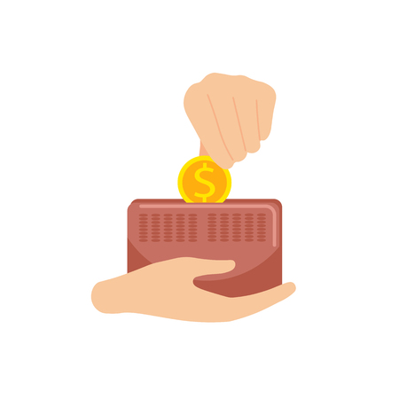 Hand puts a gold coin in a leather wallet. Stock Illustratie