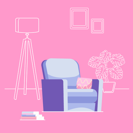 The interior of the living room with an armchair. Outline background. Blue armchair with a pink pillow on the background of a floor lamp and house plant, near a stack of books.