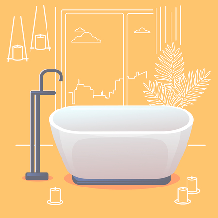 Outline interior a modern bathroom in a minimalist style. Scented candles in the bathroom. Illustration