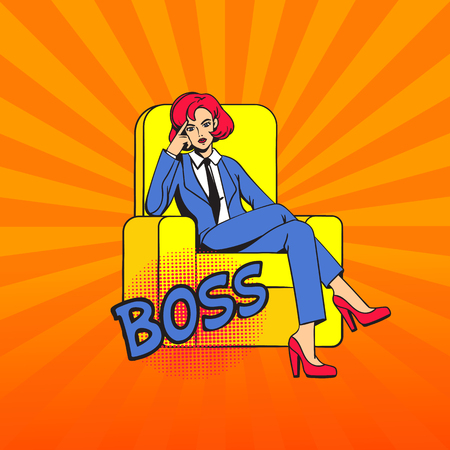The girl sits cross-legged in the chair. Female boss with a stern thoughtful look. Pop art.