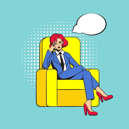 The girl sits cross-legged in the chair. Female boss with a stern thoughtful look. Empty thought cloud. Pop art. Illusztráció
