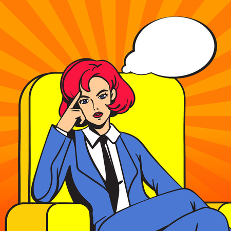 The girl sits cross-legged in the chair. Female boss with a stern thoughtful look. Empty thought cloud. Pop art. Ilustracja