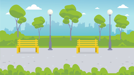 Benches and lanterns in the city park. Landscape: park path, green lawn, trees, bushes, city on the horizon.