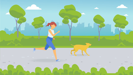 A man is running through the park. Girl running with her dog. City Park.