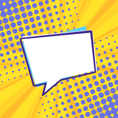 Pop art retro comic speech bubble on colorful dotted and rays backgrounds. Comics page, advertisement frame, web design, poster.