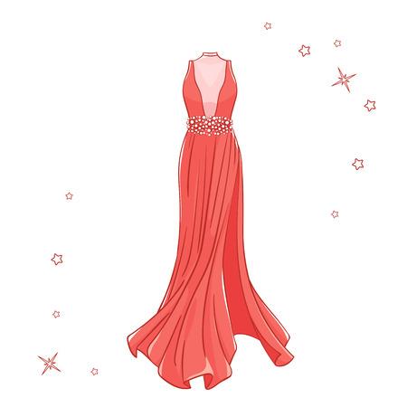 Model dress for prom, ball, solemn event. Ruffles and ornaments on the dress. Clothing design. Illusztráció