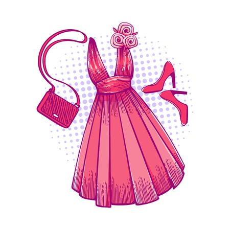 Modellkleid für Abschlussball, Ball, feierliche Veranstaltung. Rüschen und Ornamente am Kleid. Kleidungsdesign. Accessoires: Schuhe und Handtasche