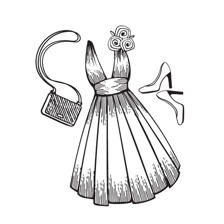 Model dress for prom, ball, solemn event. Ruffles and ornaments on the dress. Clothing design. Accessories: shoes and handbag. Coloring page.