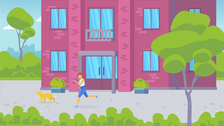 The entrance of a residential building and a residential courtyard. Front door. Girl running with her dog.