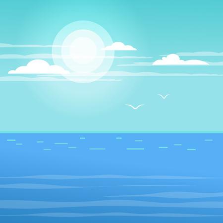 Landscape - seascape. Sea surface in the open sea. Calm. Bright sun. Illusztráció