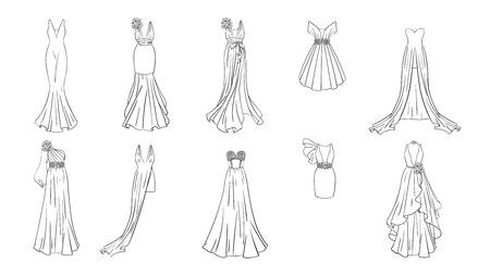 Un conjunto de vestidos diferentes. Estilo moderno y clásico. Vestidos para fiesta de graduación, noche de gala, boda, mascarada, puntos. Página para colorear para niñas.