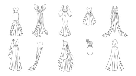 A set of different dresses. Modern and classic style. Dresses for prom, gala evening, wedding, masquerade, points. Coloring page for girls. Illusztráció