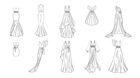 A set of different dresses. Modern and classic style. Dresses for prom, gala evening, wedding, masquerade, points. Coloring page for girls. Illustration