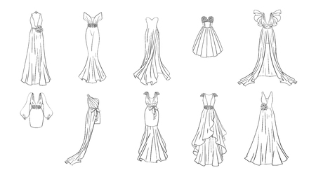 A set of different dresses. Modern and classic style. Dresses for prom, gala evening, wedding, masquerade, points. Coloring page for girls. Ilustração