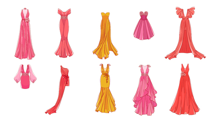 A set of different dresses. Modern and classic style. Dresses for prom, gala evening, wedding, masquerade, points.