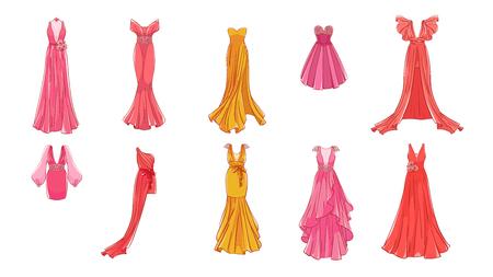 Un conjunto de vestidos diferentes. Estilo moderno y clásico. Vestidos para fiesta de graduación, noche de gala, boda, mascarada, puntos. Ilustración de vector