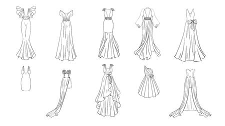 Eine Reihe von verschiedenen Kleidern. Moderner und klassischer Stil. Kleider für Abschlussball, Galaabend, Hochzeit, Maskerade, Punkte. Malvorlage für Mädchen.