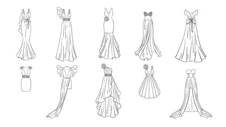 Un conjunto de vestidos diferentes. Estilo moderno y clásico. Vestidos para fiesta de graduación, noche de gala, boda, mascarada, puntos. Página para colorear para niñas. Ilustración de vector