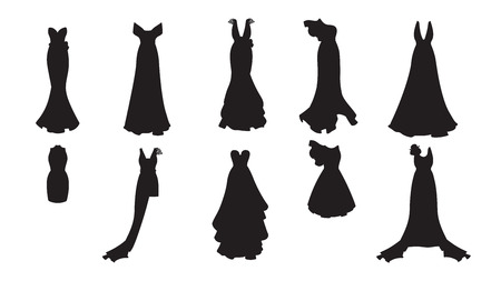 A silhouette set of different dresses. Modern and classic style. Dresses for prom, gala evening, wedding, masquerade, points.