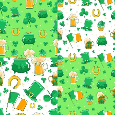 Vector patterns Saint Patricks Day. Green silk hat, flag of Ireland, pot of gold coins, shamrocks, cupcake decoration clover, horseshoe and beer stein.