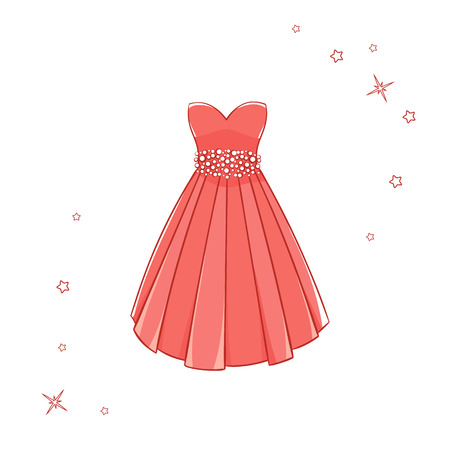 Model dress for prom, ball, solemn event. Ruffles and ornaments on the dress. Clothing design. Vettoriali