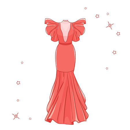 Model dress for prom, ball, solemn event. Ruffles and ornaments on the dress. Clothing design. 向量圖像