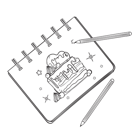 Sketchbook with a picture of a cake. Notebook with a picture. Pencil in the process of drawing. Ilustração