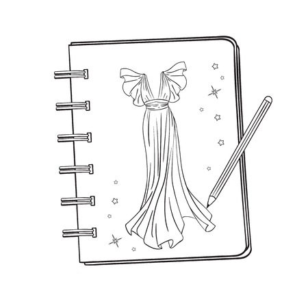 Sketchbook with a picture of a ballroom, prom, evening dress. Notebook with a picture. Pencil in the process of drawing.