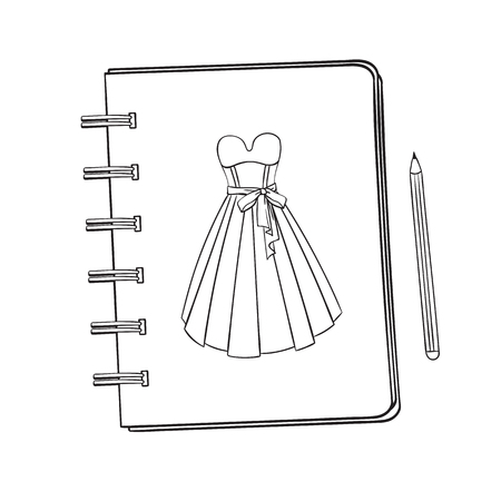 Sketchbook with a picture of a ballroom, prom, evening dress. Notebook with a picture. Ilustração