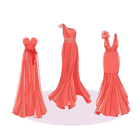 Model dresses for prom, ball, solemn event. Ruffles and ornaments on the dress. Clothing design.