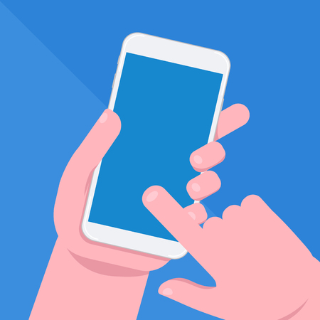 Mobile phone in hand. Smartphone screen. Hand holding smartphone. Ilustração