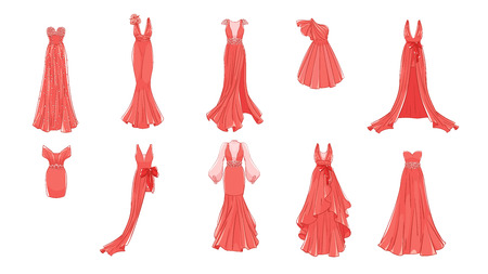 Dresses for prom, gala evening, wedding, masquerade, points. Set of different dresses. Modern and classic style.