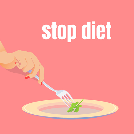 Fork in the female hand. Stop the diet. Almost empty plate. One piece of parsley pinned on a fork. Stock Illustratie